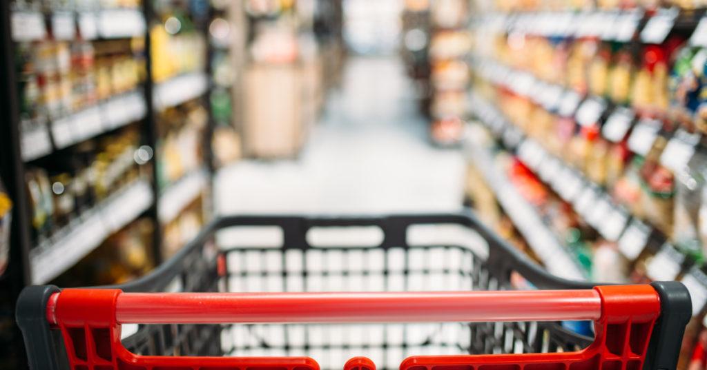 Charriot de course en supermarché vide