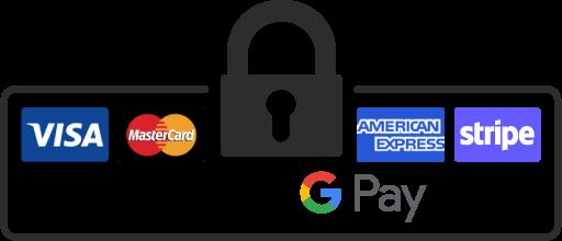 Paiements sécurisés logos visa mastercard american express stripe apple pay google pay