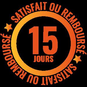 logo satisfait ou remboursé 15 jours
